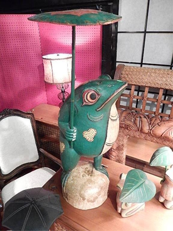 "LARGE CARVED WOOD FROG WITH UMBRELLA, APPROX 30""H"