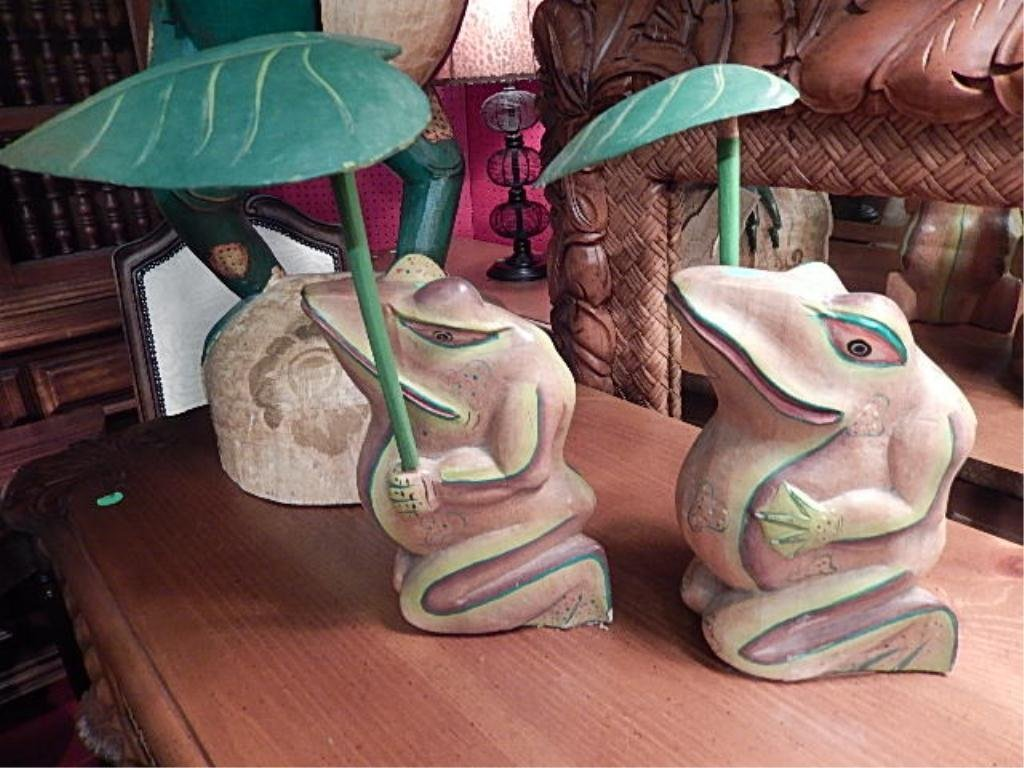 "PAIR CARVED WOOD FROGS WITH LEAF UMBRELLAS, APPROX 10""H"