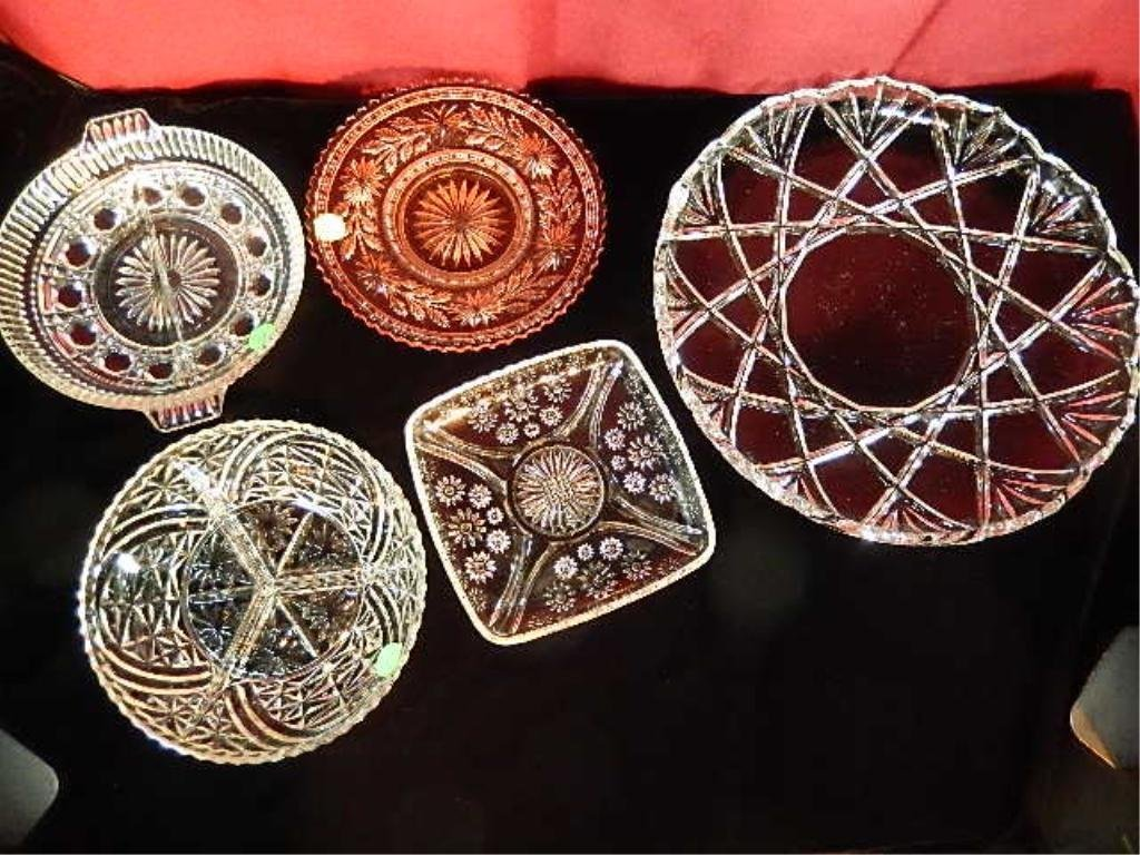 5 PIECE GROUP CUT CRYSTAL INCLUDES LARGE PLATTER APPROX