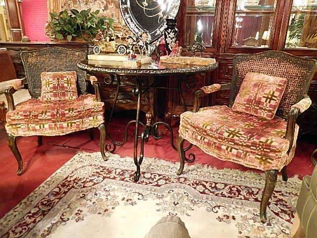 PAIR ANTIQUE CANE BACK ARMCHAIRS, GREEN AND BURGUNDY