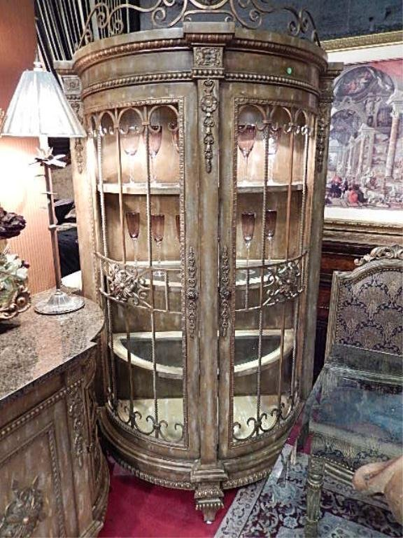 ORNATE LIGHTED CABINET BY LAM LEE, GLASS SHELVES,
