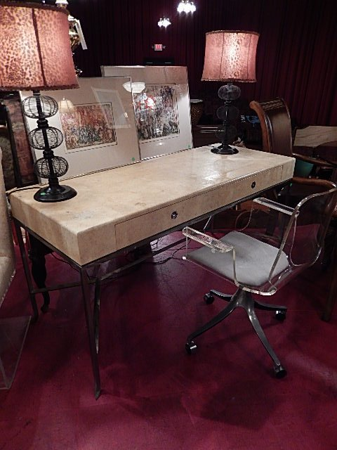 1970's LACQUERED PARCHMENT WRITING DESK, CHROME PULLS,