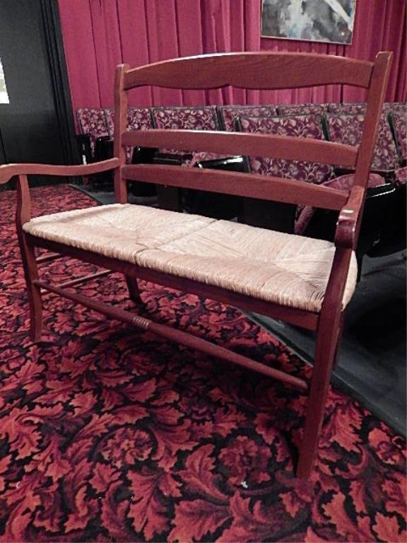 WOOD BENCH, RUSH SEAT, RED FINISH, EXCELLENT CONDITION,