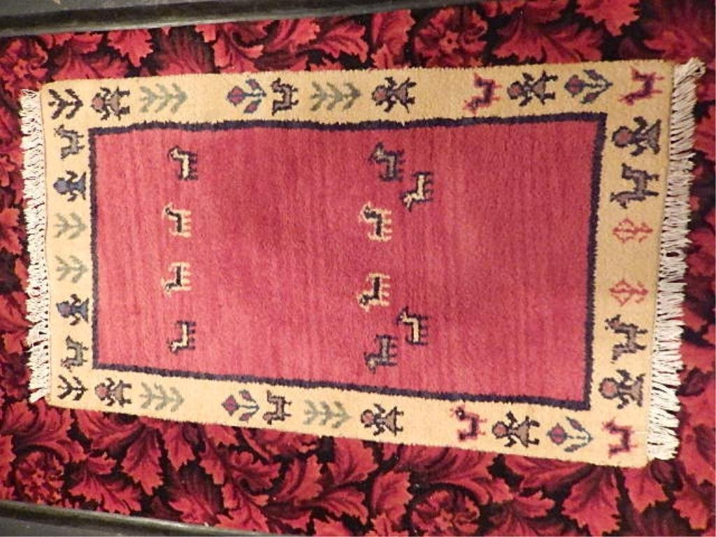 """WOOL RUG, RED WITH YELLOW BORDER, 28"""" X 48"""""""