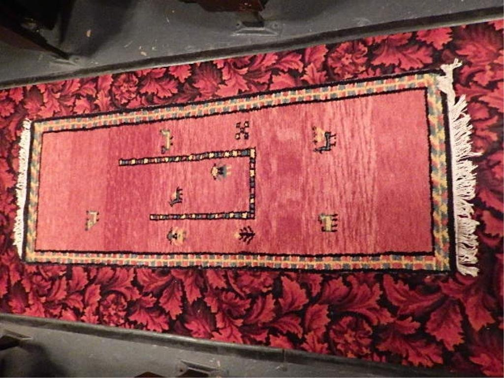 """WOOL RUG, RED WITH DARK RED BORDER, 25"""" X 68"""""""