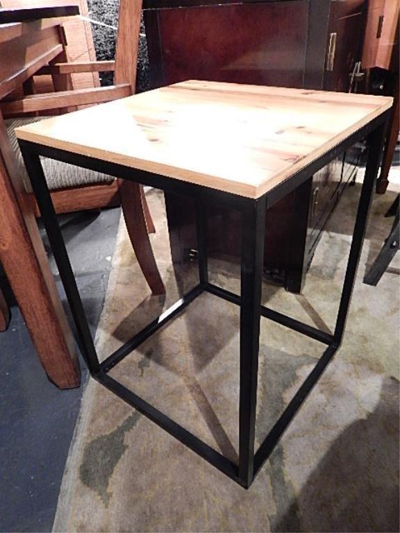 MODERN DESIGN SIDE TABLE, BLACK FINISH METAL FRAME,