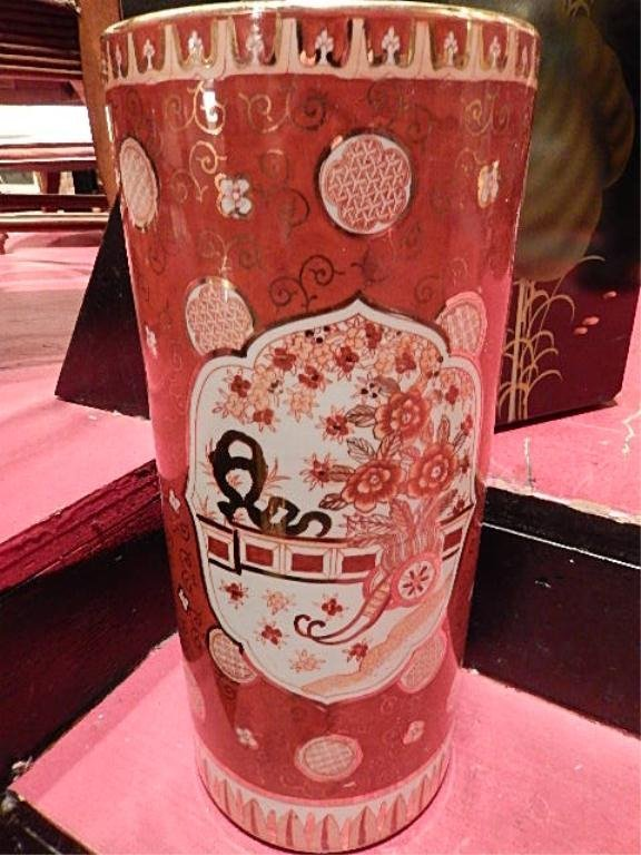 CHINESE PORCELAIN UMBRELLA STAND, WHITE, RED AND GOLD
