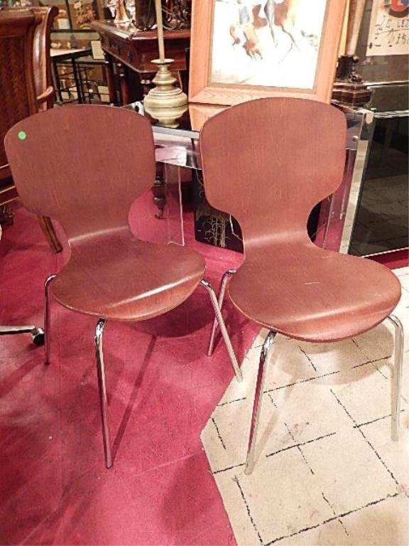 PAIR MODERN WOOD AND CHROME CHAIRS