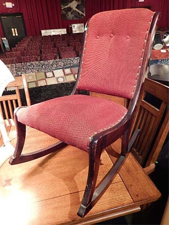VINTAGE ROCKING CHAIR, ARMLESS, RED UPHOLSTERY
