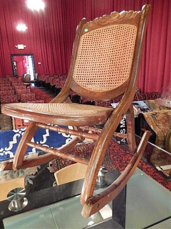 VINTAGE ROCKING CHAIR, ARMLESS, CANE BACK & SEAT