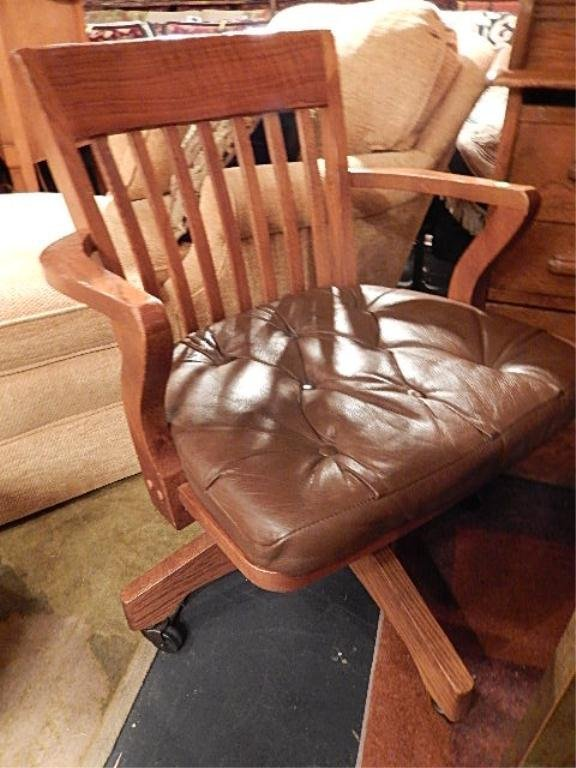 OAK DESK CHAIR, LEATHER SEAT, ON CASTERS