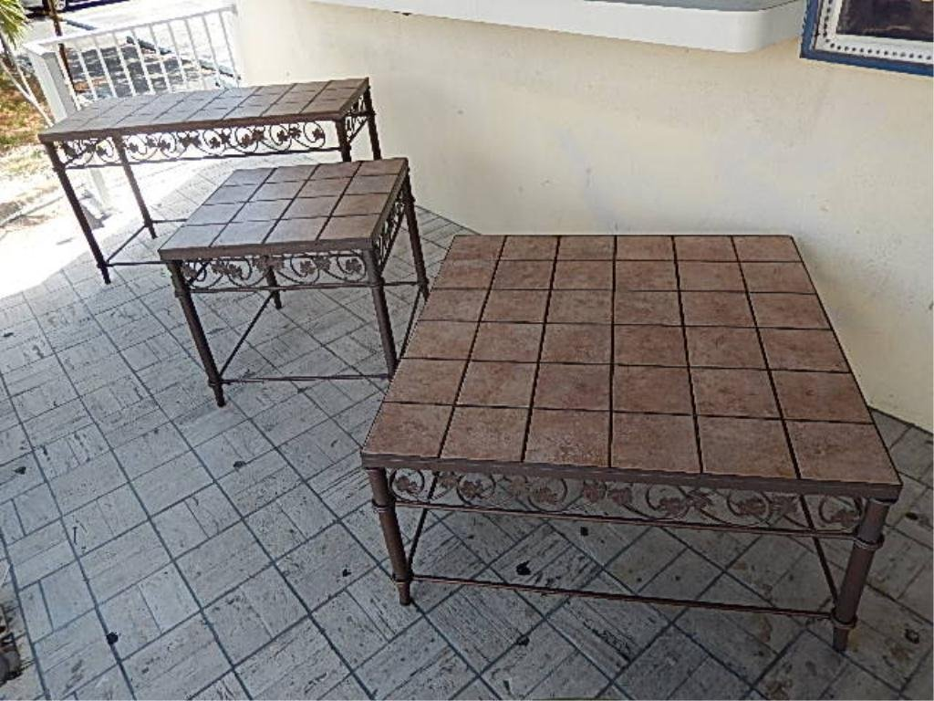 3 PC PATIO TABLE SET, METAL BASES WITH INSET TILE TOPS,