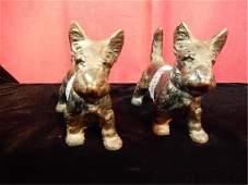 TWO HUBLEY SCOTTISH TERRIER SCOTTY DOG DOORSTOPS