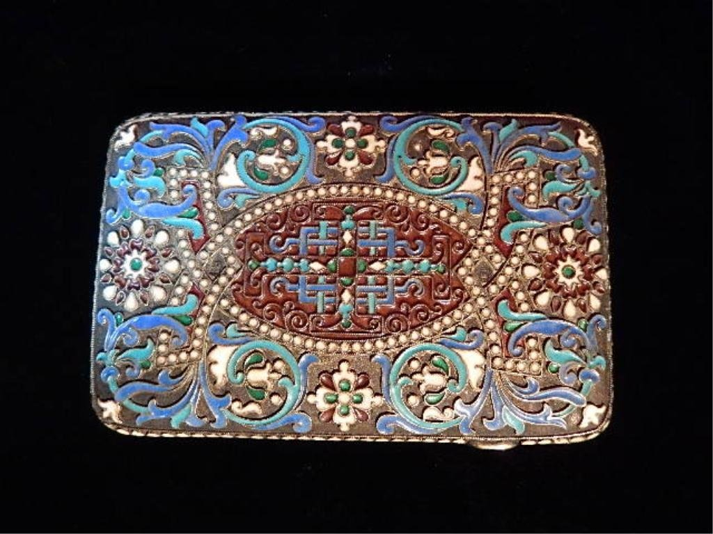 RUSSIAN SILVER & ENAMEL CIGARETTE CASE, WITH MOSCOW 88