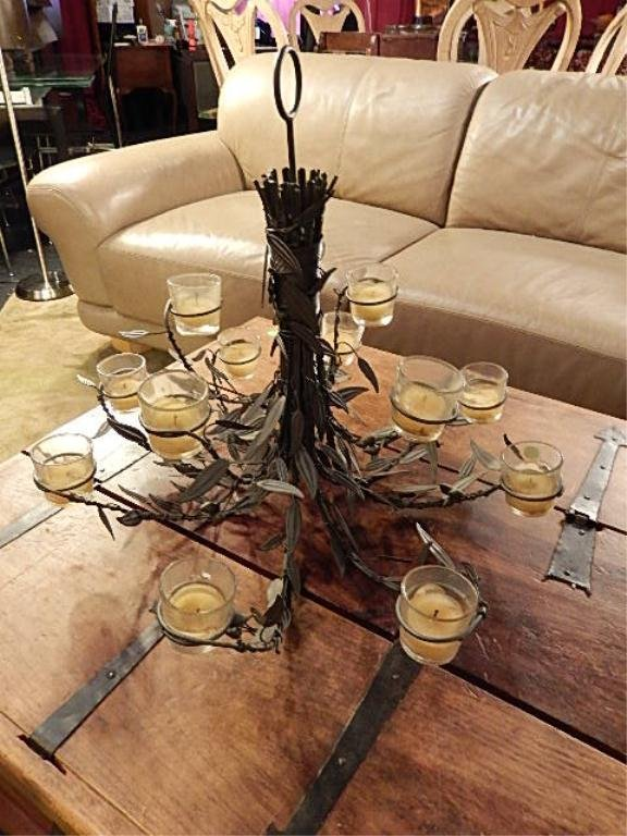 LEAF MOTIF METAL CHANDELIER WITH CANDLE HOLDERS, APPROX