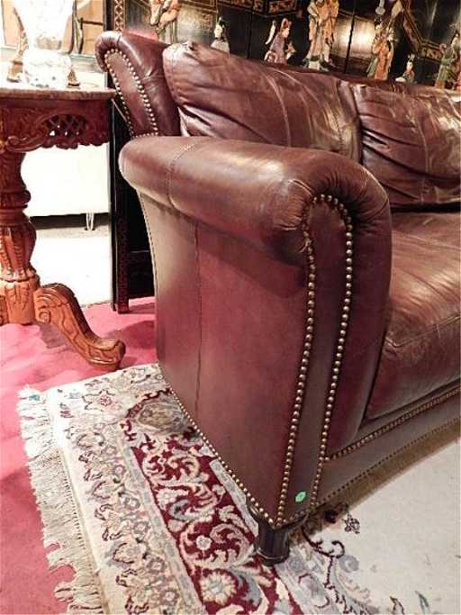 FERGUSON COPELAND BROWN LEATHER SOFA, NAILHEAD TRIM,