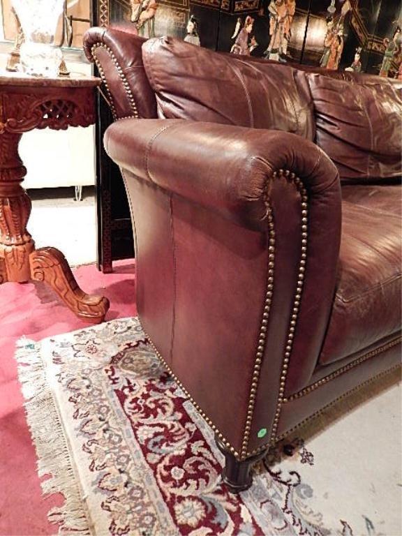 ferguson copeland brown leather sofa nailhead trim rh liveauctioneers com Chair Nailhead Trim Ottoman Leather Sectional with Nailhead Trim