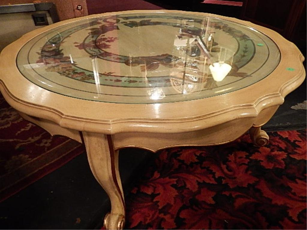 FRENCH PROVINCIAL STYLE COFFEE TABLE, CIRCA 1