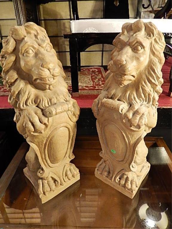 PAIR LION SCULPTURES, ANTIQUE WHITE COMPOSITI