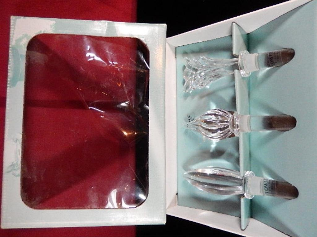 3 TOWLE CRYSTAL BOTTLE STOPPERS IN BOX