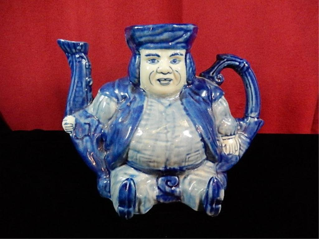 BLUE & WHITE IRONSTONE TEAPOT, SEATED MAN, APPROX