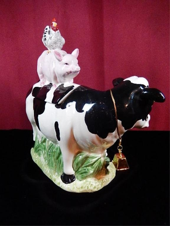 "COW, PIG & CHICKEN COOKIE JAR, APPROX 11""H - 4"