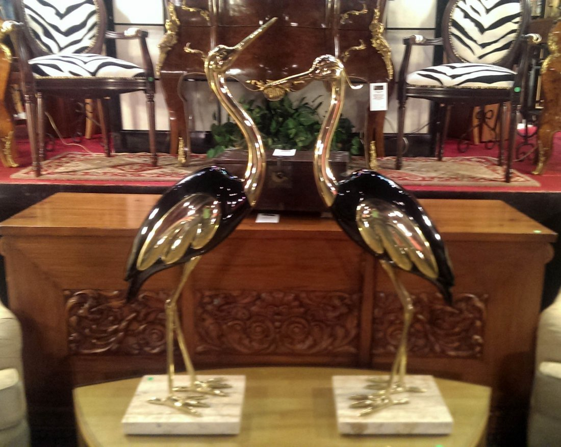 LARGE PAIR OF STANDING HERON SCULPTURES, MADE IN ITALY,