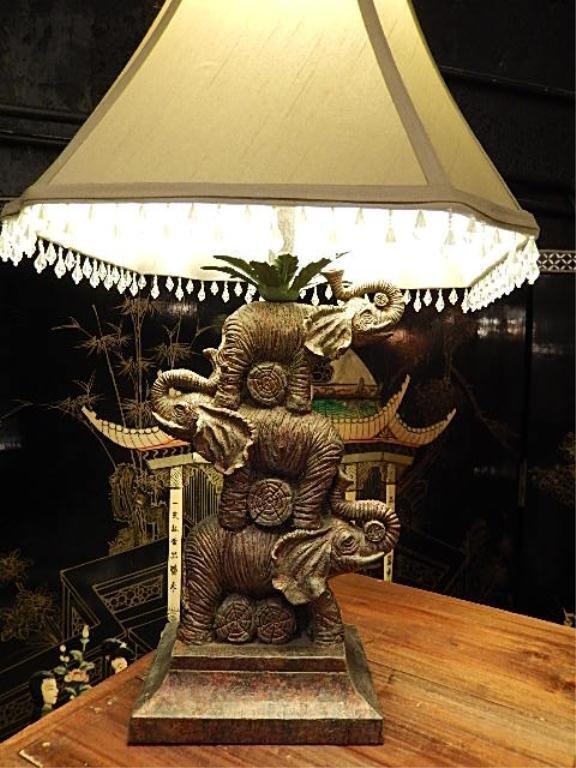 Stacked elephant lamp - Stacked Elephant Table Lamp Bead Fringe Shade Approx