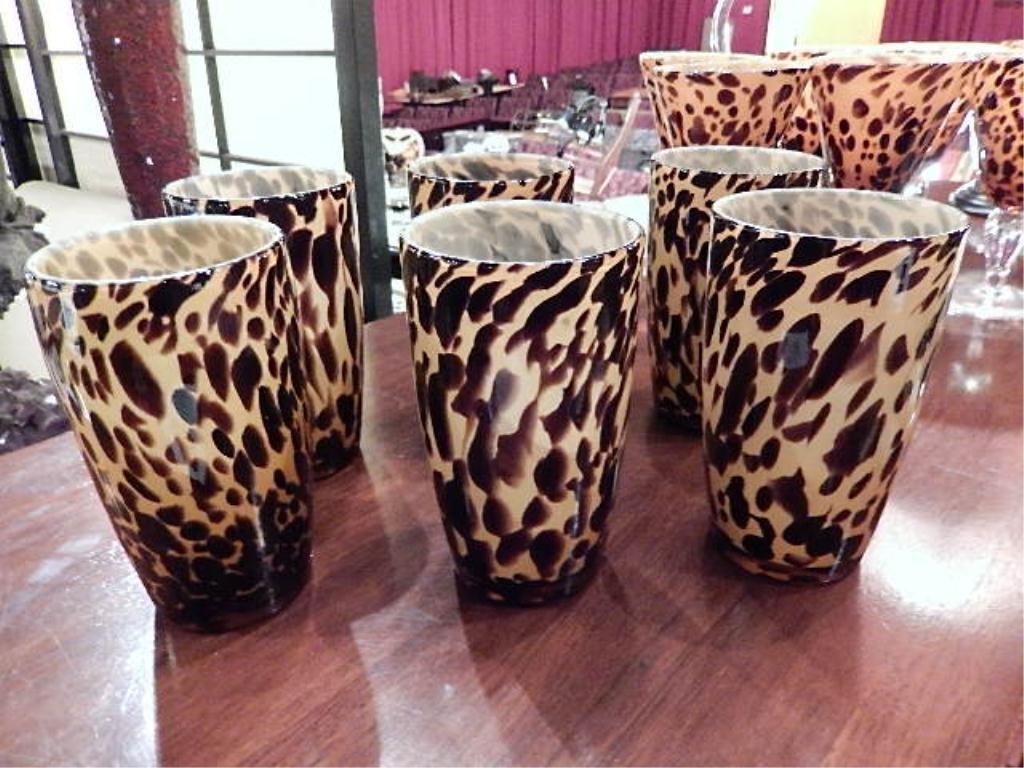 6 AMBER & BROWN ANIMAL PRINT ART GLASS TUMBLERS, APPROX