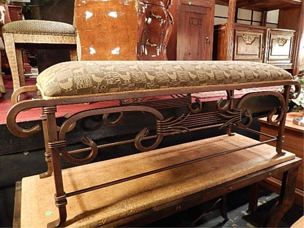 ORNATE METAL BENCH, UPHOLSTERED SEAT, APPROX 4'W