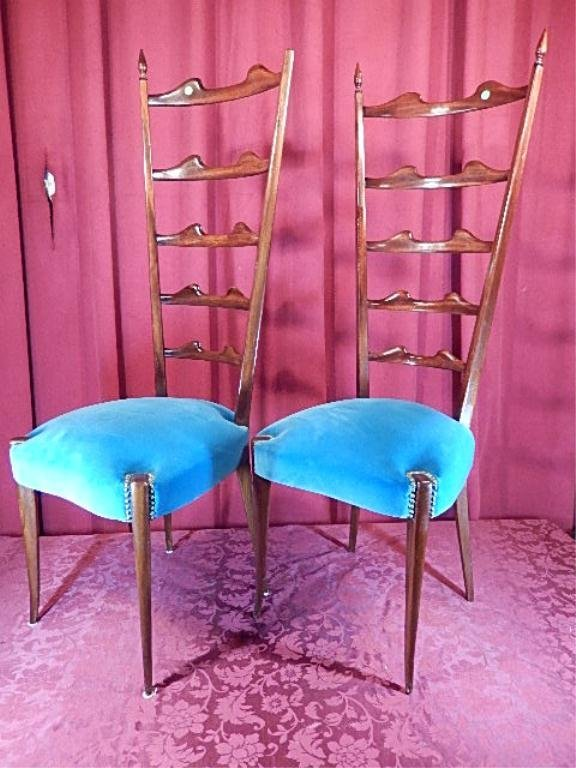 PAIR ANTIQUE TALL LADDERBACK CHAIRS, TURQUOISE VELVET