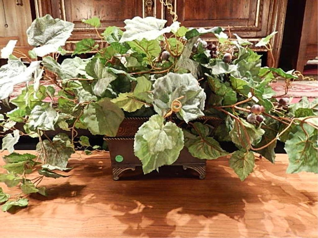 """FAUX FOLIAGE IN METAL PLANTER, APPROX 20""""L"""