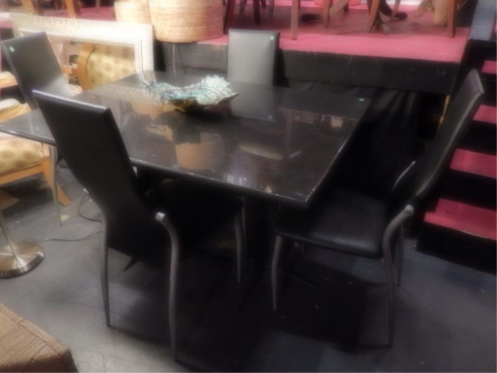 MODERN DESIGN GRANITE DINING TABLE, 1' THICK BLACK