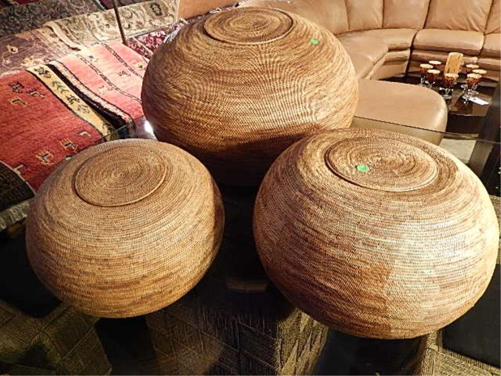 """3 PC SET LARGE ROUND WOVEN BASKETS, LARGEST APPROX 25"""""""