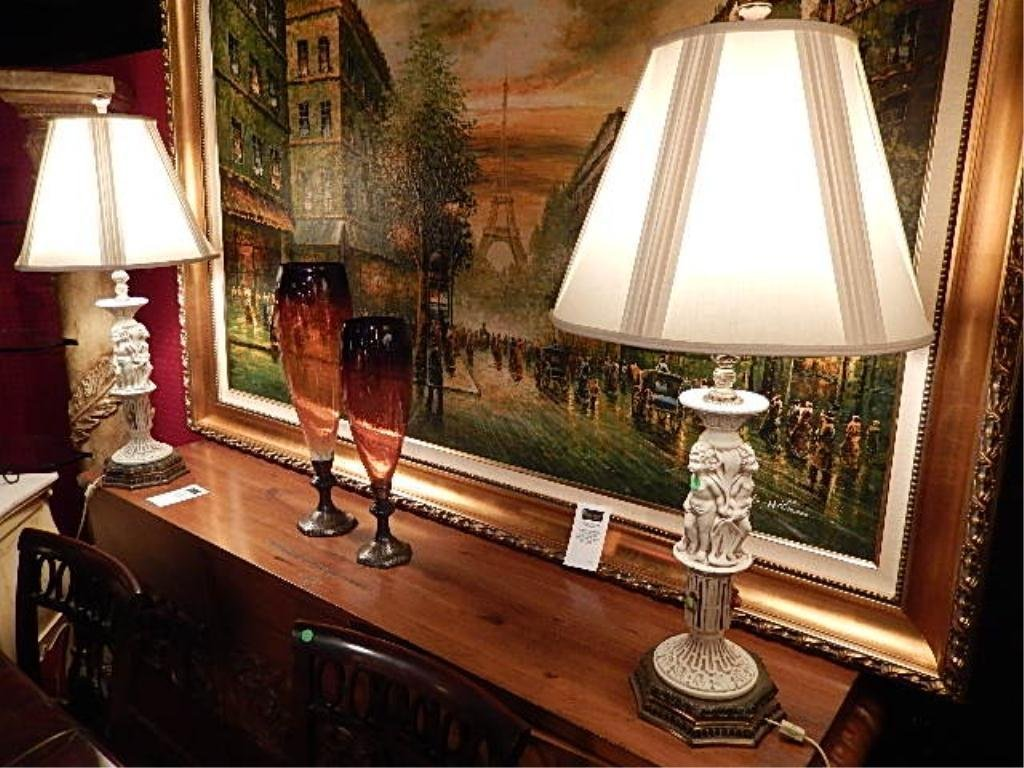 PAIR PORCELAIN AND BRASS TABLE LAMPS WITH CHERUBS,