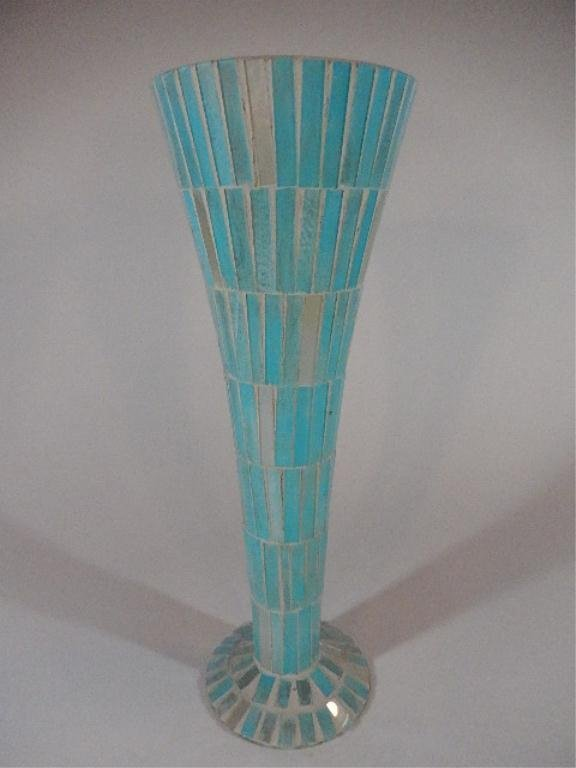 """TALL MOSAIC TILE VASE, PALE BLUE, APPROX 15.75""""H"""