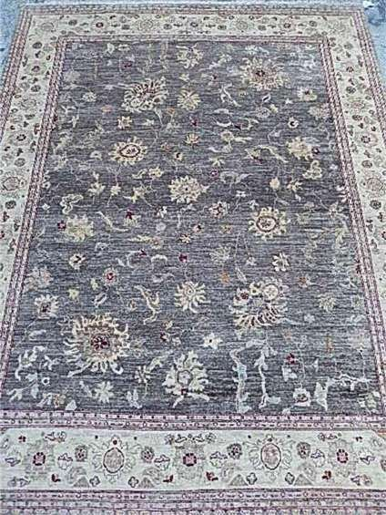 LARGE WOOL CHOBI RUG, TAUPE AND CREAM, EXCELLENT