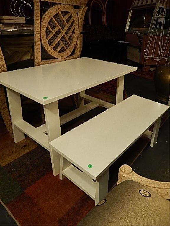 CHILD'S TABLE AND BENCH, WHITE FINISH APPROX 3'L