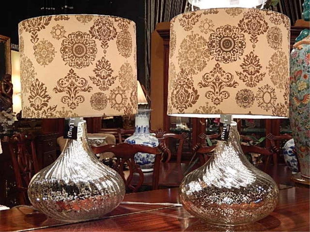 PAIR NEW SILVERED GLASS LAMPS, TAGS STILL ATTACHED,