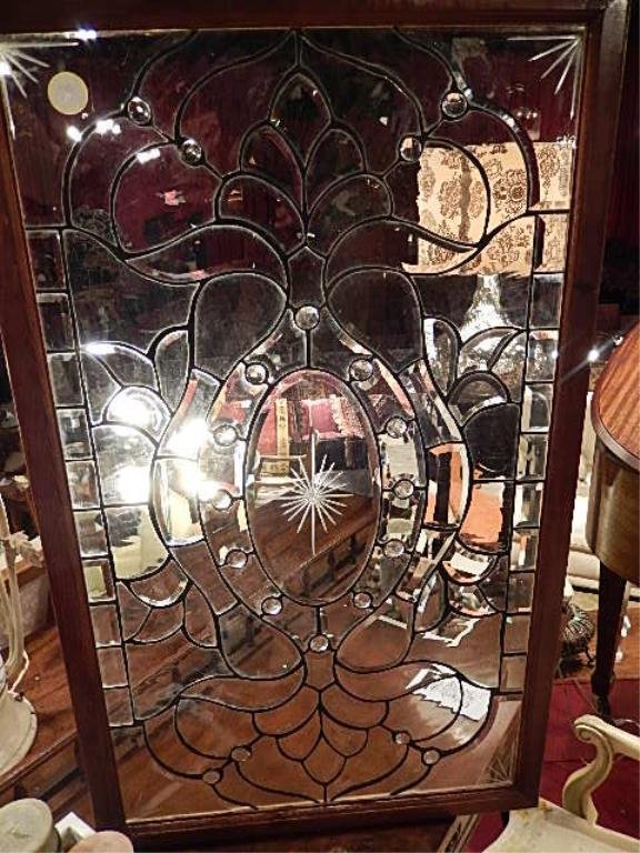 LEADED GLASS WINDOW PANEL IN WOOD FRAME, CLEAR GLASS,