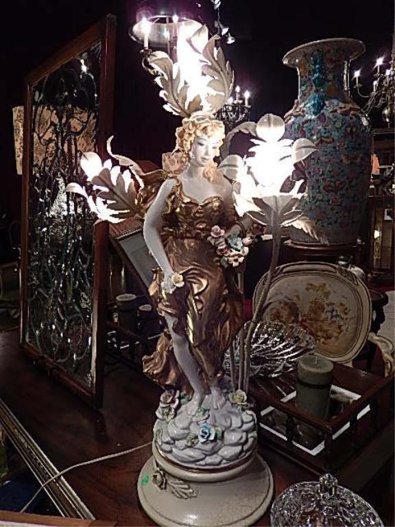 VINTAGE PORCELAIN FIGURAL LAMP WITH SCROLLING METAL