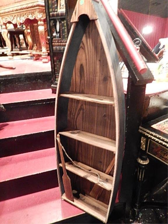 CARVED WOOD BOAT MOTIF DISPLAY CABINET, WITH OAR,