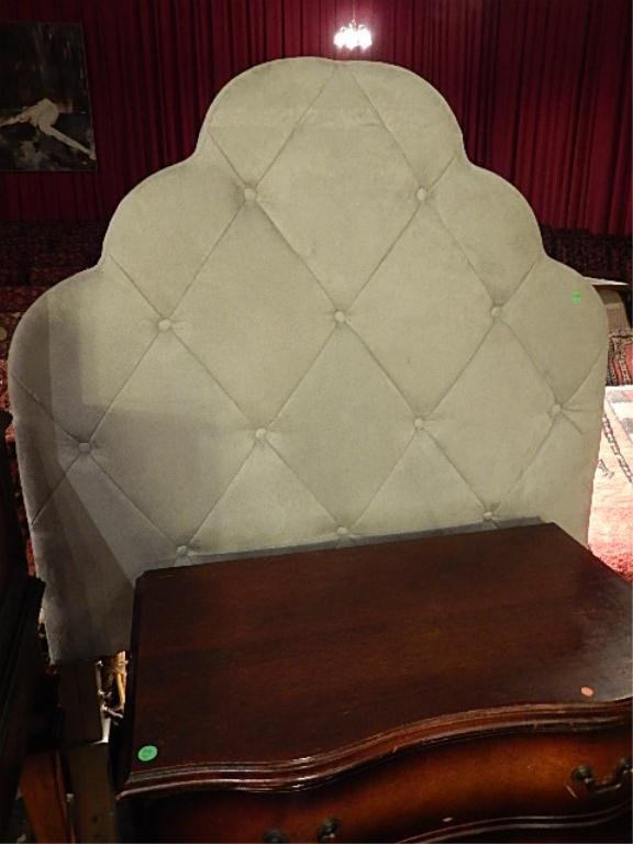 PAIR TWIN UPHOLSTERED HEADBOARDS, BUTTON TUFTED, APPROX
