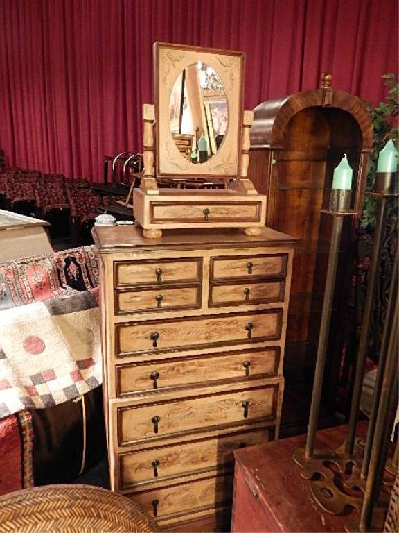 CARVED WOOD TALL CHEST, WITH TILT VANITY MIRROR, APPROX