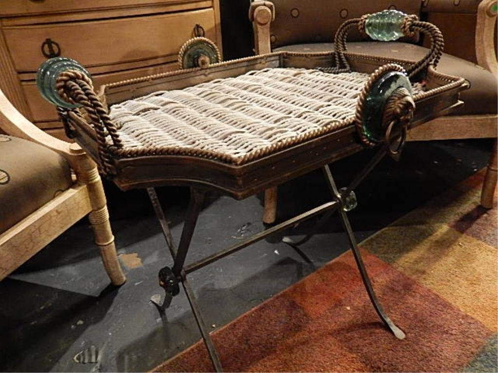 RATTAN AND METAL TRAY TABLE WITH REMOVABLE TRAY, GLASS