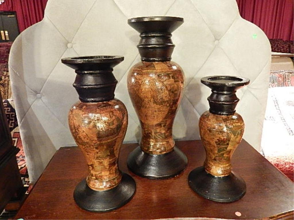 3 PC PILLAR CANDLE HOLDERS, COMPOSITION BASE, LARGEST