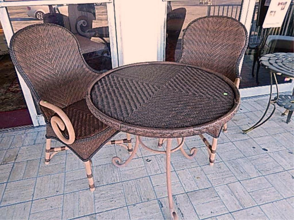 3 PC PATIO SET, PAIR ARMCHAIRS WITH SCROLLING ARMS,