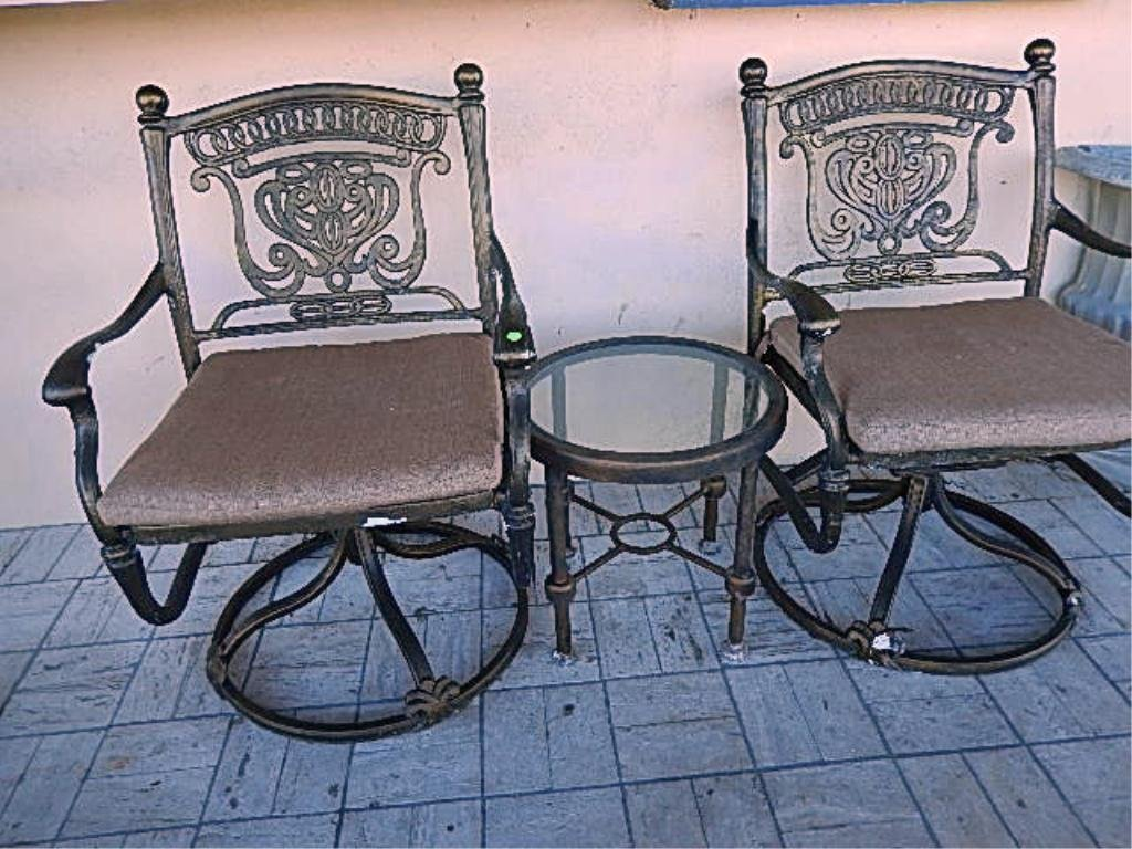 3 PC PATIO SET, PAIR SWIVEL ARMCHAIRS, SIDE TABLE