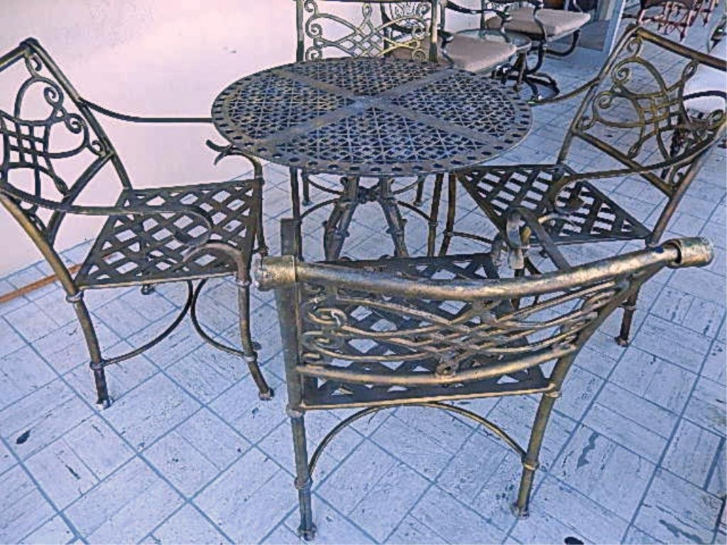 METAL PATIO TABLE WITH 4 ARMCHAIRS