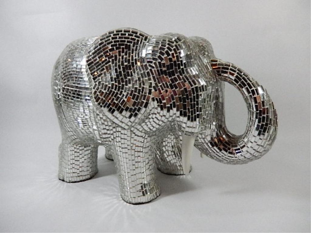 "MIRROR TILED ELEPHANT, APPROX 8"" X 12"""